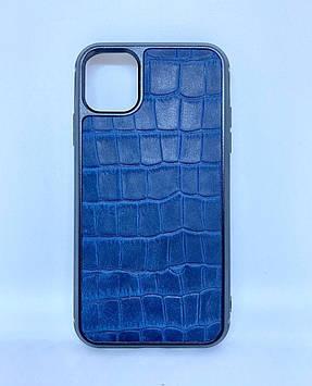 Чехол CaZe для iPhone 11 с тиснением под крокодила Crazy Horse синий