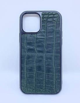 Чехол CaZe для iPhone 12/12 Pro с тиснением под крокодила Crazy Horse зеленый
