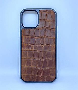 Чехол CaZe для iPhone 12/12 Pro с тиснением под крокодила Crazy Horse коричневый
