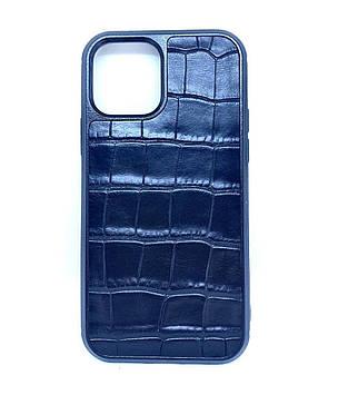 Чехол CaZe для iPhone 12/12 Pro с тиснением под крокодила черный классическая фактура