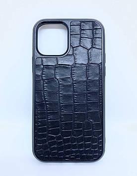 Чехол CaZe для iPhone 12/12 Pro с тиснением под крокодила черный мелкая фактура