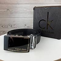 Мужской ремень Calvin Klein автомат, Брендовый черный ремень на пояс Кельвин Кляйн с пряжкой в коробке