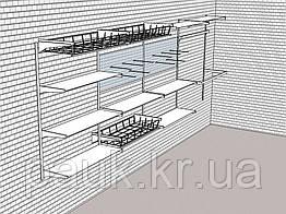 Стелаж настінний Н 1450х950 мм тип 10, система металевих настінних стелажів