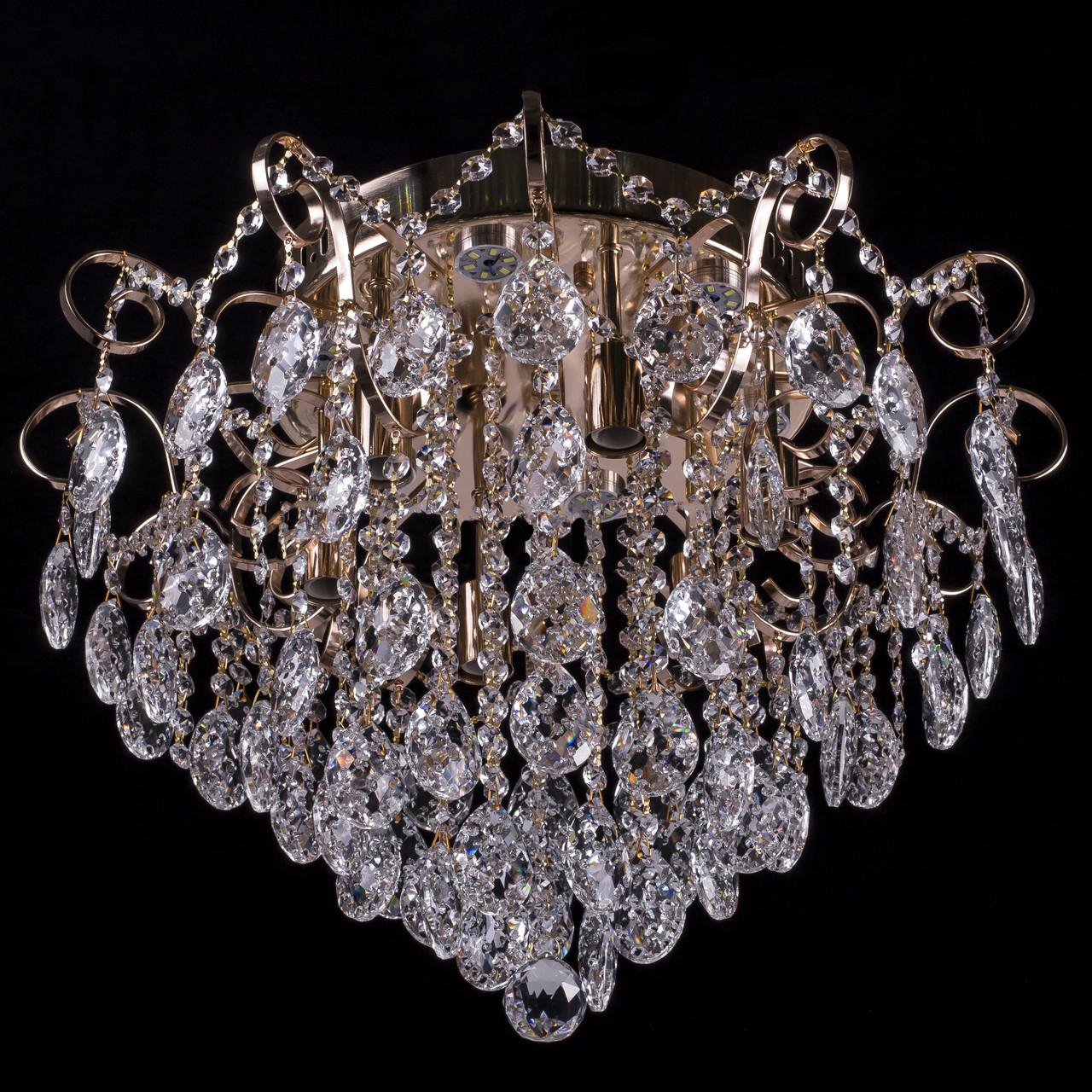 Кришталева люстра, класична з LED підсвічуванням на 6 лампочок (золото). P5-E1136/6+6/FG