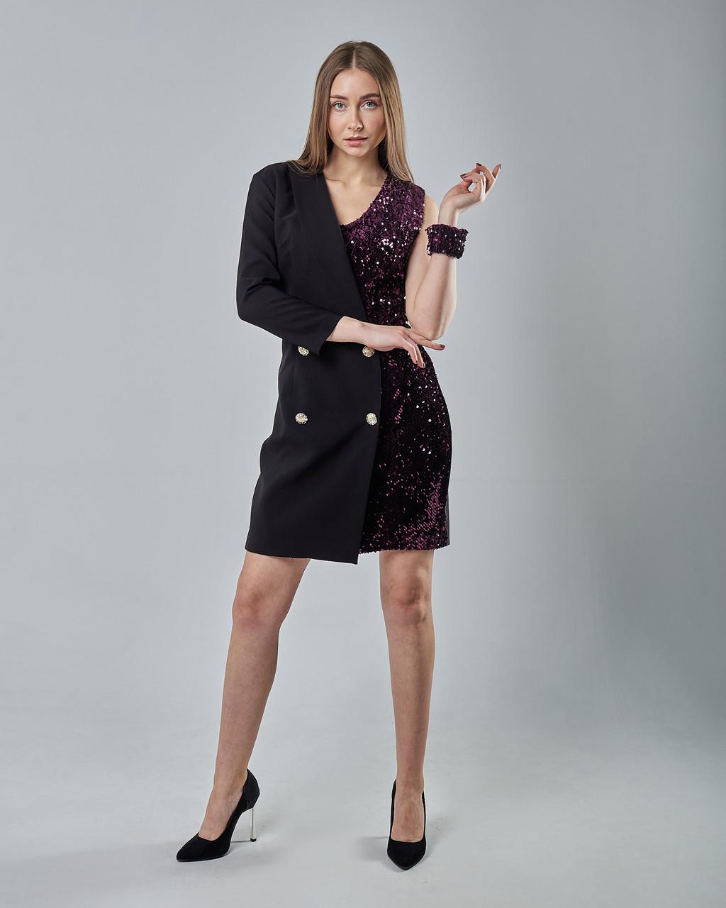 Нарядное платье-пиджак с паетками