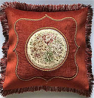Наволочка декоративна china велюрова з бахромою коло квіти 50*50 коричневий #S/H