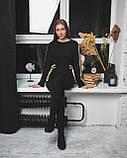 Черное облегающее платье миди с вставкми, фото 4