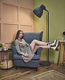 Трикотажное платье-рубашка с поясом бежевое., фото 4