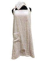 Женский комплект для бани linda (сарафан, капюшон) kadir pembe s/m розовый #S/H