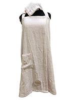 Женский комплект для бани linda (сарафан, капюшон) kadir pembe xl/xxl розовый #S/H