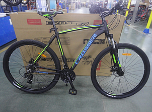 Двухколесный спортивный велосипед 29 дюймов 19 рама Crosser Inspiron черно-зеленый