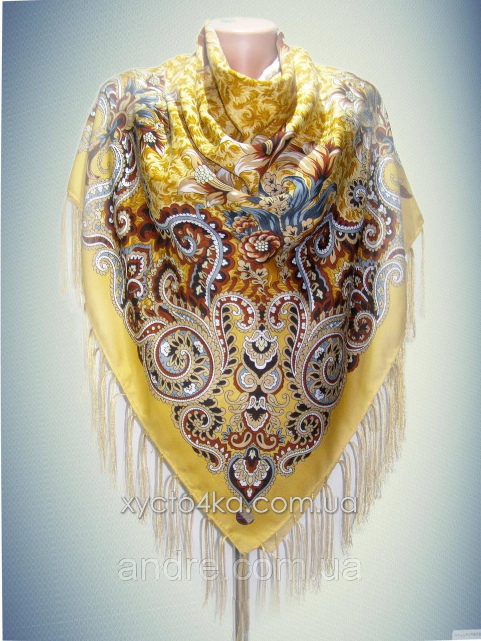 Шерстяной платок Дары востока, горчичный