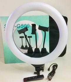 Профессиональная кольцевая LED лампа SLP-G500 с 3 держателями+пультом+чехол, диаметр 45 см 220V со штативом