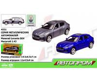 """Машина металл 4321  """"АВТОПРОМ"""",1:43 Maserati Levante SUV,2 цвета, откр.двери,в кор. 14,5*6,(Маш 4321)"""
