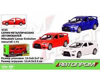 "Машина металл 4335 ""АВТОПРОМ"",1:41 Mitsubishi-lancer-evolution,3 цвета,откр.двери,в кор. 14(Маш 4335)"