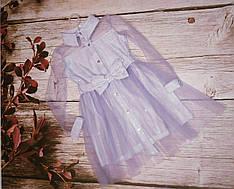 Платье нарядное детское лилового цвета из ткани люрекс размеры 128-152