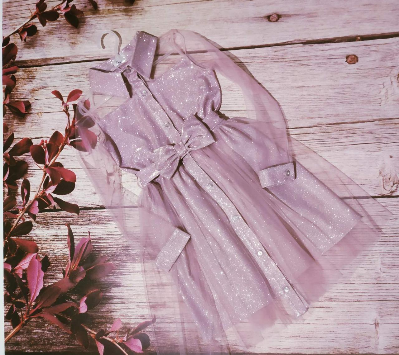 Платье детское розового цвета из ткани люрекс размеры 128-152