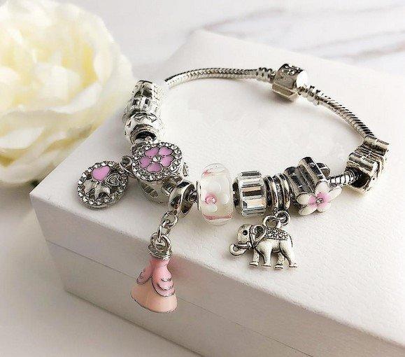 Браслет в стиле Pandora Цветы Розовый