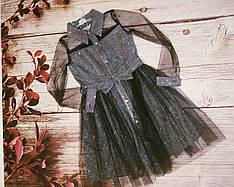 Детское платье для праздника в черном цвете  размеры 128-152