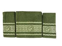 Набір махрових рушників gold soft life версаче 50*90(2) і 70*140 зелений #S/H