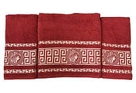 Набір махрових рушників gold soft life версаче 50*90(2) і 70*140 червоний #S/H