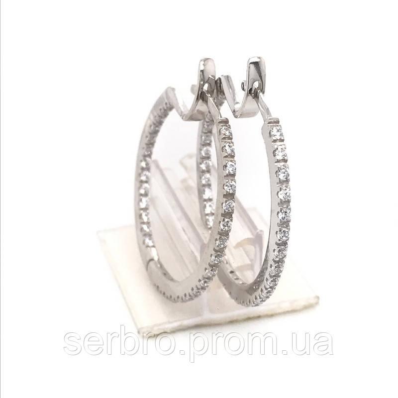 Серьги кольца с фианитами серебро Скарлетт