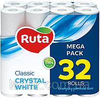 /Бумага туал Classic 32 рул на гильзе 2х сл белый RUTA