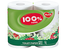 /Бумага туал 100% Paper 4 рул на гильзе 2х сл белый RUTA