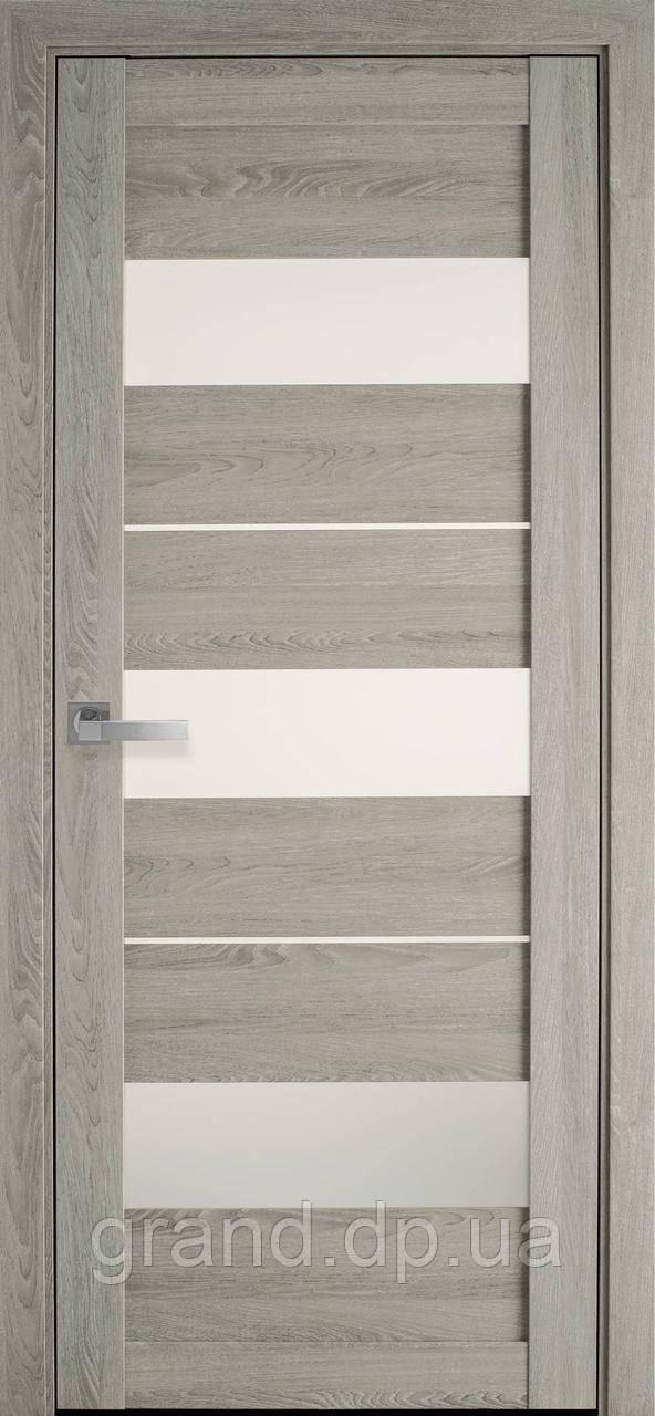 Межкомнатные двери Новый стиль ПВХ Ультра Лилу со стеклом сатин, цвет дуб дымчатый