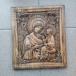 Икона резная из дерева. Тихвинская Богоматерь