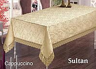 Скатерть жаккардовая прямоугольная 160х220 SULTAN Cappuccino, Турция
