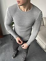 Свитер классический мужской серого цвета. Мужской классический лёгкий свитер серый.