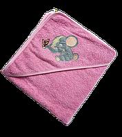 Полотенце детское для купанья с капюшоном махра 90*90 380г/м2 (TM Zeron), розовое Турция