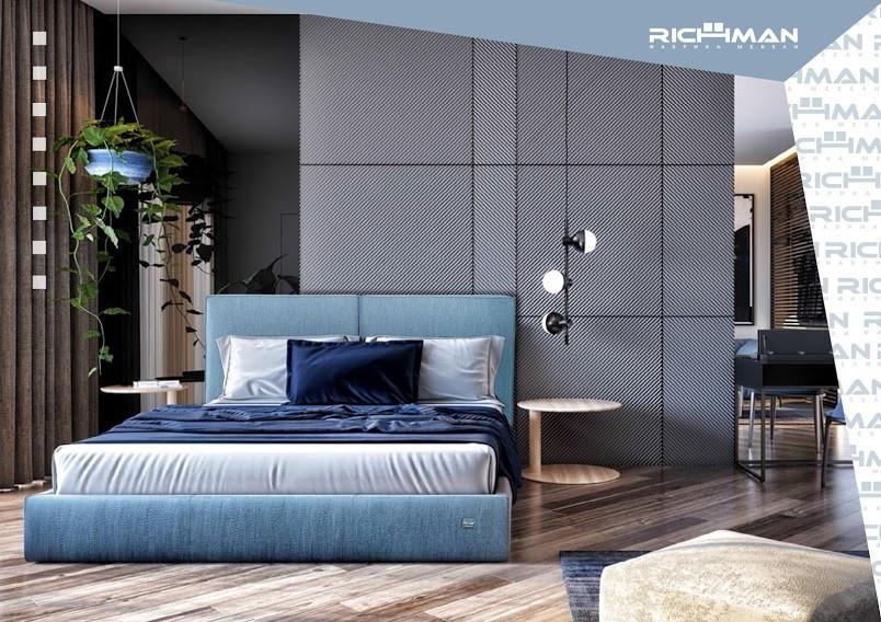Двуспальная кровать с мягким изголовьем Дели ТМ Richman