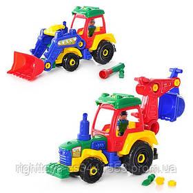 Конструктор 1233 (24шт) на шурупах,трактор, 38см, фигурка, отвертка, 2 вида, в кульке, 38-30-12см