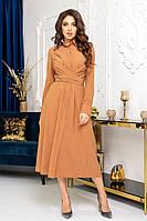 Стильне молодіжне плаття міді в горох сорочкового крою