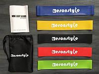 Набор фитнес-резинок 5шт+мешочек для хранения, ризинки эспандер, тренажер для ягодиц, ног (evga)
