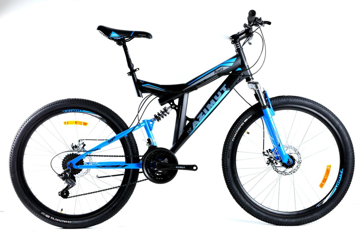 Спортивный горный велосипед 24 дюйма 17 рама Azimut Power FRD черно-синий