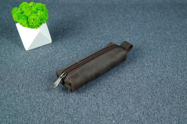 Ключниця на блискавці, Вінтажна шкіра, колір Шоколад, фото 2
