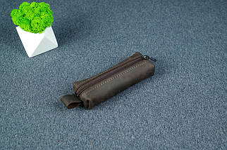 Ключниця на блискавці, Вінтажна шкіра, колір Шоколад, фото 3