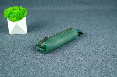 Ключница на молнии, Винтажная кожа, цвет Зеленый