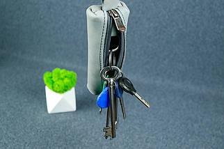 Ключница на молнии, Винтажная кожа, цвет Серый, фото 2