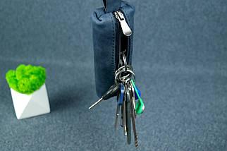 Ключница на молнии, Винтажная кожа, цвет Синий, фото 2