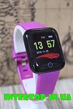 Фітнес браслет D13 . Смарт годинник, браслет здоров'я, пульсометр, тонометр Бузковий колір + Безкоштовна Доставка