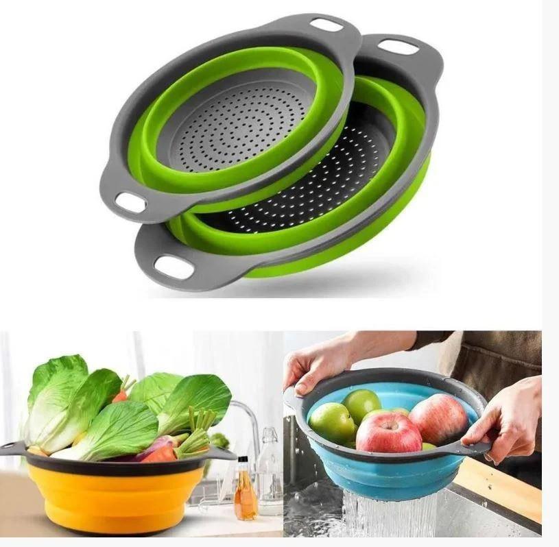 Друшляк силіконовий складаний комплект з 2 шт Collapsible filter baskets салат фрукти