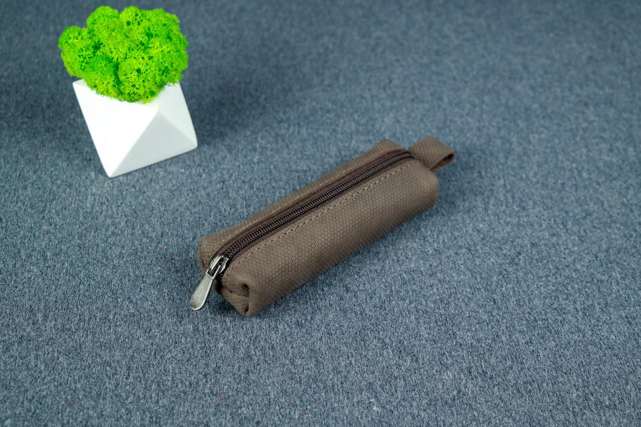 Ключниця на блискавці, Вінтажна шкіра, колір Шоколад, тиснення №4