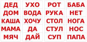"""Карточки большие русские с фактами """"Чтение"""" 20 слов, методика Глена Домана,в пак. 16,5*19,5см, Украина, ТМ"""