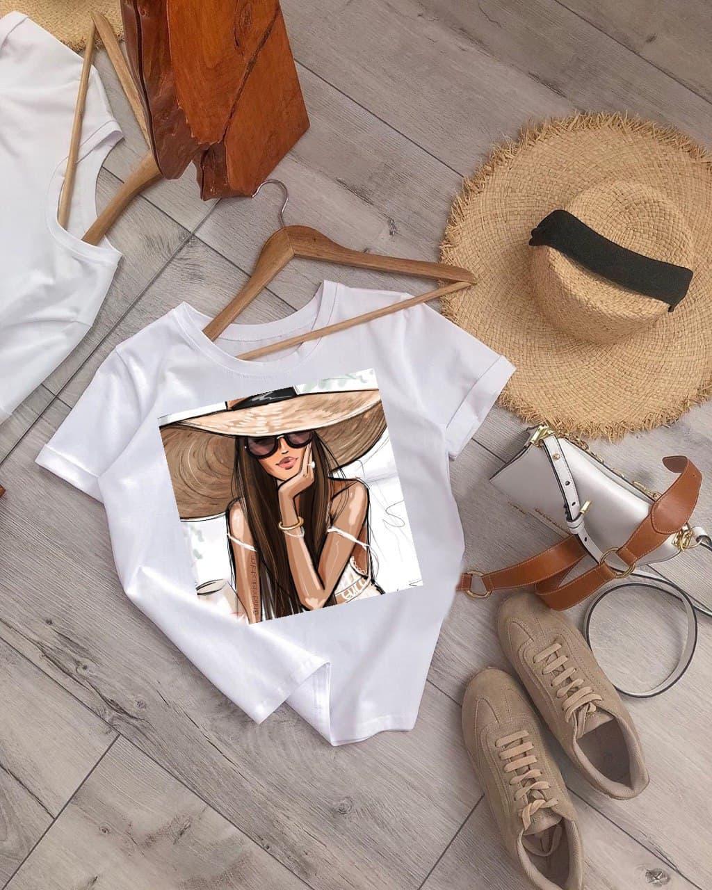 Жіноча котонова футболка з принтом MISS FASHION white