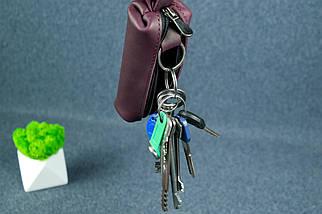Ключница на молнии, кожа Итальянский краст, цвет Бордо, фото 3