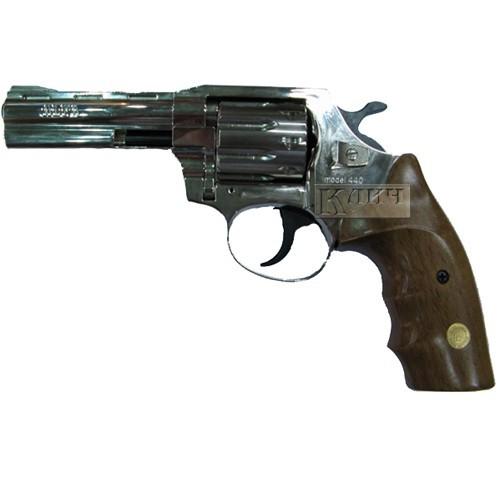 Револьвер под патрон Флобера Alfa 441, никелированный, деревянная рукоятка